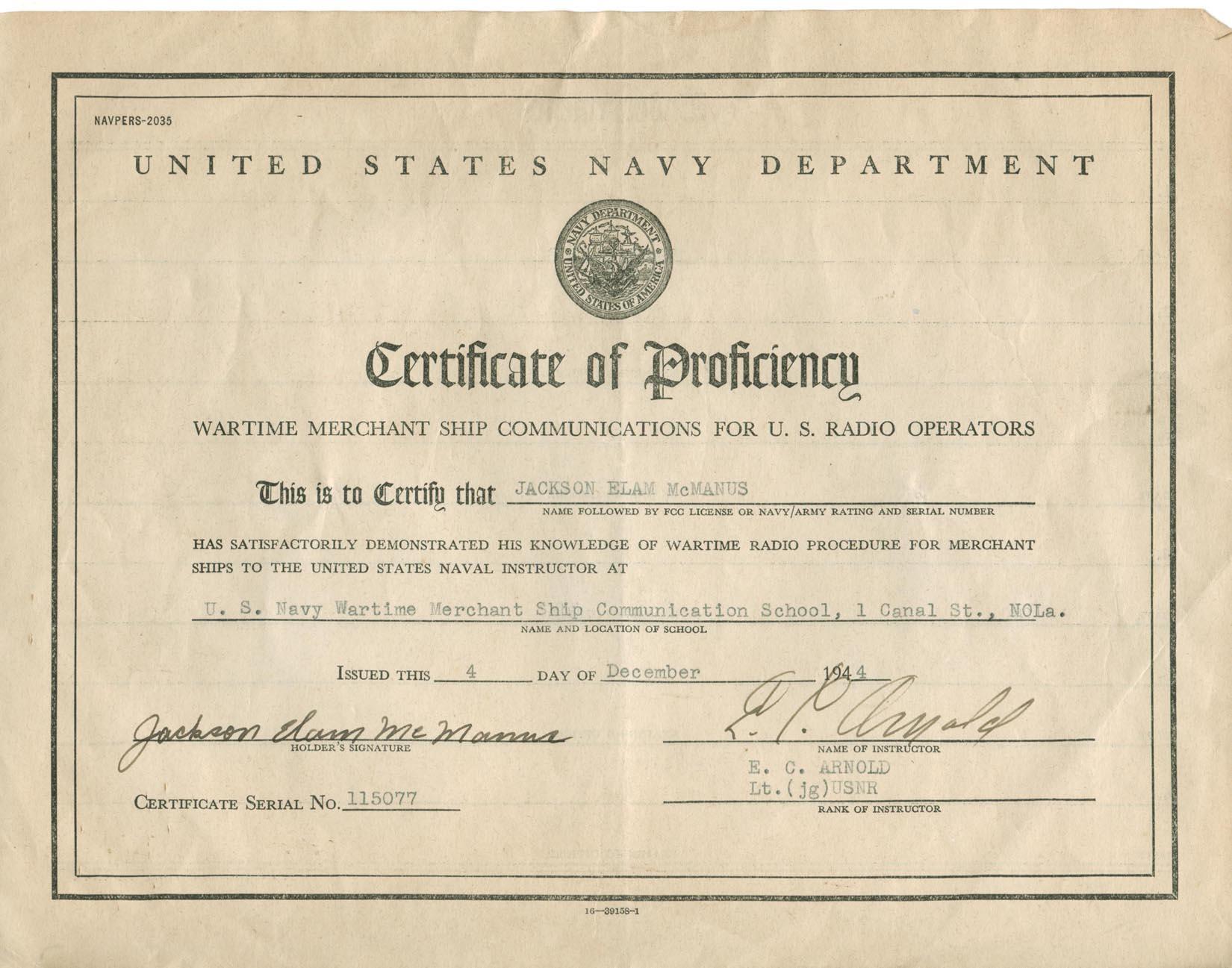 Radio Operator Certificate Of Proficiency
